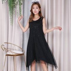 厂家直销 批发2018夏季新款背心连衣裙A字裙修身女装 背心吊带衫 黑色 均码