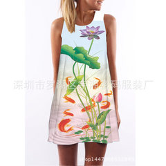 夏季女装新款无袖中长款吊带连衣裙花鸟画数码印花宽松夏装连衣裙 图色 S