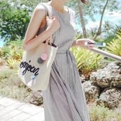 2018韩版新款棉麻女装无袖系带裙子显瘦条纹棉麻中长款连衣裙 夏 灰蓝色 S