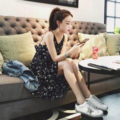 2018新款韩女装时尚度假风荷叶边雪纺碎花吊带连衣裙女 打底裙 图片色 S