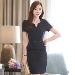 Korean version of the new v-neck OL business dress temperament OL slim elegant dress Navy blue s.