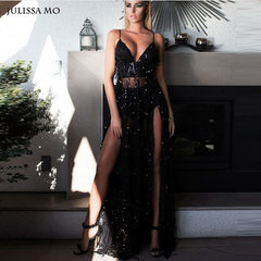 Ebay Europe and the United States summer dress sequins v-neck sexy backless floor-length dress skirt black s.