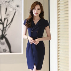 In the summer of 2017, v-neck fashion women`s professional dress, short-sleeved OL work clothes stud Navy blue s.