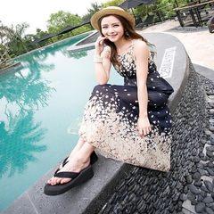 2015夏季无袖碎花雪纺连衣裙波西米亚裙度假沙滩裙长裙 黑色 均码