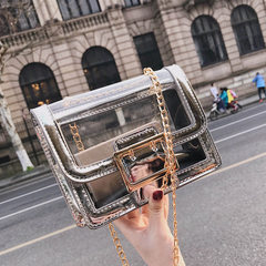 Ins super hot bag ladies 2018 new style fashionable transparent small square bag Korean version chic silver