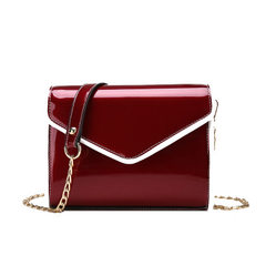 Small square bag 2018 fashionable striking color paint leather bright face female bag chain hundred  green