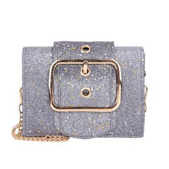 2018 bright piece large belt buckle small square bag women`s single shoulder bag fashion bag a hair  red