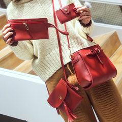 子母包四件套新款韩版水桶流苏女式单肩包斜挎手提手机零钱包百搭 红色