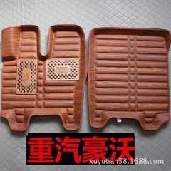 Special leather car foot pad all around the foot pad waterproof truck indentation all around the foo Wood grain