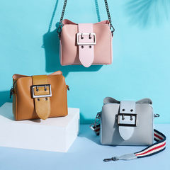 Wholesale Korean version of the fashionable small square bag female 2018 new style wide shoulder bel pink