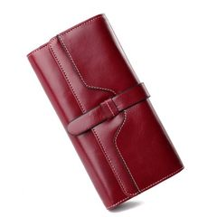European and American zipper with a large capacity cross-border new leather lady purse with oil wax  Wine red