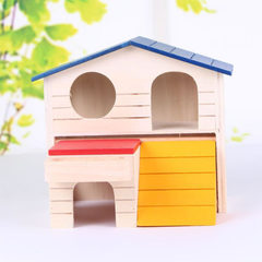 Hamster double deck wooden house small pet color house original wooden nest solid wood cage gold sil color