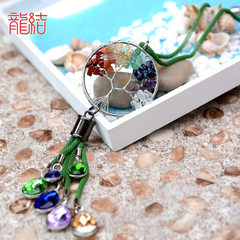 Dragon knot seven color crystal car hang fa fa CAI tree water drop diamond car interior decoration p Fortune purple chain