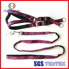 Guanchang factory produces pet products dog chest back strap double nylon pet traction rope walking  on-demand 2.5 * 120
