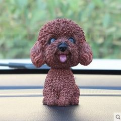 Car head dog cute imitation dog car accessories resin shake dog copyright genuine A teddy brown