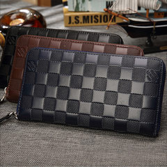 2018 new business men`s multifunctional wallet with plaid pattern and embossed pattern blue