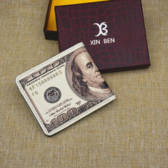 Factory direct selling wholesale men`s casual short style wallet personality creative dollar card in The dollar pattern