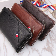 2017 Korean style large-capacity commercial zipper with red, white and blue fashion stitched togethe Shallow brown