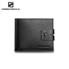Business leather men`s purse men`s short wallet wholesale men`s style with button head cow leather p black