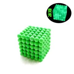 3mm216 fluorescent green puzzle magic ball magnetic ball decompression creative toys nightlight DIY  3MM fluorescent green + iron box