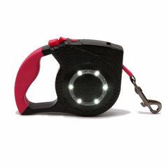 亚马逊热卖新款遛狗自动伸缩牵引绳LED照明反光大中型宠物用品 红 4M扁绳70斤以下