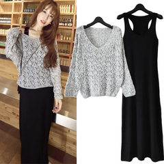 2018 full-size women`s long-sleeve knitted dress, Korean version, slim two-piece dress Navy blue with long skirts All code