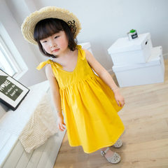 LAKA BABY2018 new style original Korean version with bowknot princess pure cotton dress fresh and sw yellow 90