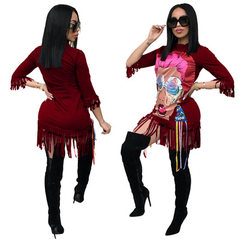 QJ5221 us and European amazon cross-border source of bf-style cartoon printed fringe loose T-shirt f Wine red s.