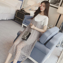 2018 summer new short-sleeved chiffon temperamental dress in the long pure color loose-fitting condo black m