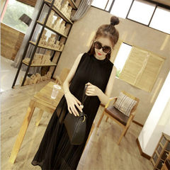 2018 new style loose show thin vertical collar A - character skirt pleated chiffon skirt vest medium gray All code