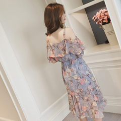 2018 summer new Korean version of the sweet one-character neck halter floral dress in the long shoul Blue, gray s.