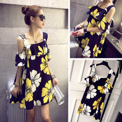 2018 summer dress new style Korean version shoulder dazzle color bump print halter with lotus leaf e black All code