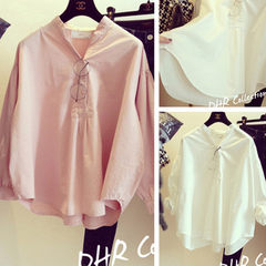 Spring and summer 2018 new Korean loose-fitting doll style han fan long-sleeved shirt women`s wear s white All code