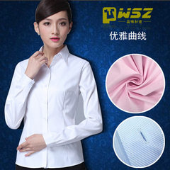 Work clothes custom blouses dark twill women`s long-sleeved business suits dress shirt garment embro Pink twill s.