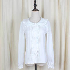 Japanese soft sister lolita doll collars with a wide range of long-sleeved shirt front lace pure whi white s.