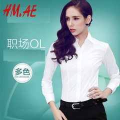 HM&AE2018 women`s long-sleeve white shirt in spring and summer, Korean version business work clothes white 32 / XS