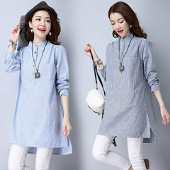 Cross-border cotton and linen coat front short back long cotton and hemp stripe loose half-open head Article deep All code
