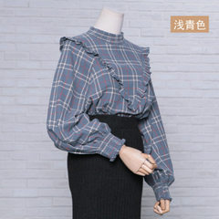 Plaid blouse lady autumn/winter plaid blouse lady`s wooden ear side blouse lady`s pleated neckline l red All code