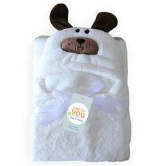 柔飞新款法莱绒披风婴儿斗篷柔软可爱婴儿披风带帽动物 白狗 96x76cm