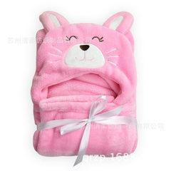 婴童用品 法莱绒儿童浴袍 超柔动物披风 包被抱毯 单层毯 微笑猫 100*100cm