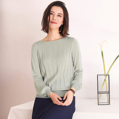 The new spring dress of 2018 women`s wear lavoia long-sleeved round neck blouse, lanthorn sleeved kn Lunar dust s.