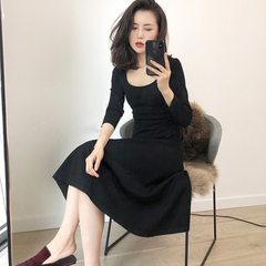 Delicate temperament 2018 spring dress new style square neck small black skirt waist shows thin and  black s.