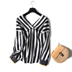 Spring and summer 2018 new black and white stripes front and back v-neck thin chiffon long-sleeve lo Black and white stripes m