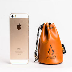 Around the game reward money bag assassin`s creed retro drawstring loose PU money bag COINS receive  Light color