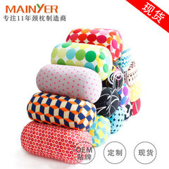 Printed particle cylinder neck pillow travel pillow office nap pillow special price pillow pillow Purple circles 17 * 30