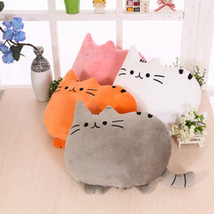 Cartoon cat holding chubby pillow doodle cat back pillow to watch TV work students generally cute pi orange General model