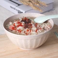 爱思得麦香纤维条纹碗 新品创意稻壳小麦餐具韩式环保健康条纹碗 麦色 14-6.5CM