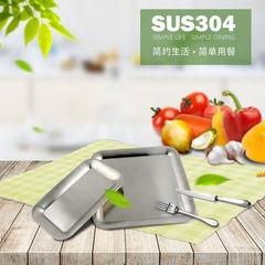 厂家直销批发不锈钢304加厚长方形酒店早餐托盘食物餐碟餐盆 21*12.5*1.5cm
