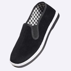 Old Beijing cloth shoes men`s pure handmade cloth shoes leisure shoes flat flat anti-skid single sho Pure black cloth 35 yards [225]
