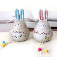 超长耳朵可爱娃娃乖乖兔子挂风铃陶瓷日式风铃批发挂饰 挂饰 门饰 长耳兔(女款)8.6×6